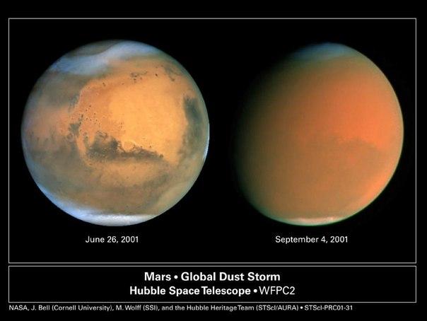 Марс из космоса Hubble
