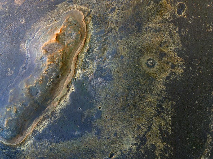 Opportunity место работы марсохода, вид из космоса