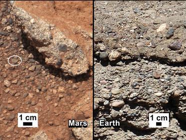 Марсоход обнаружил гальку на Марсе