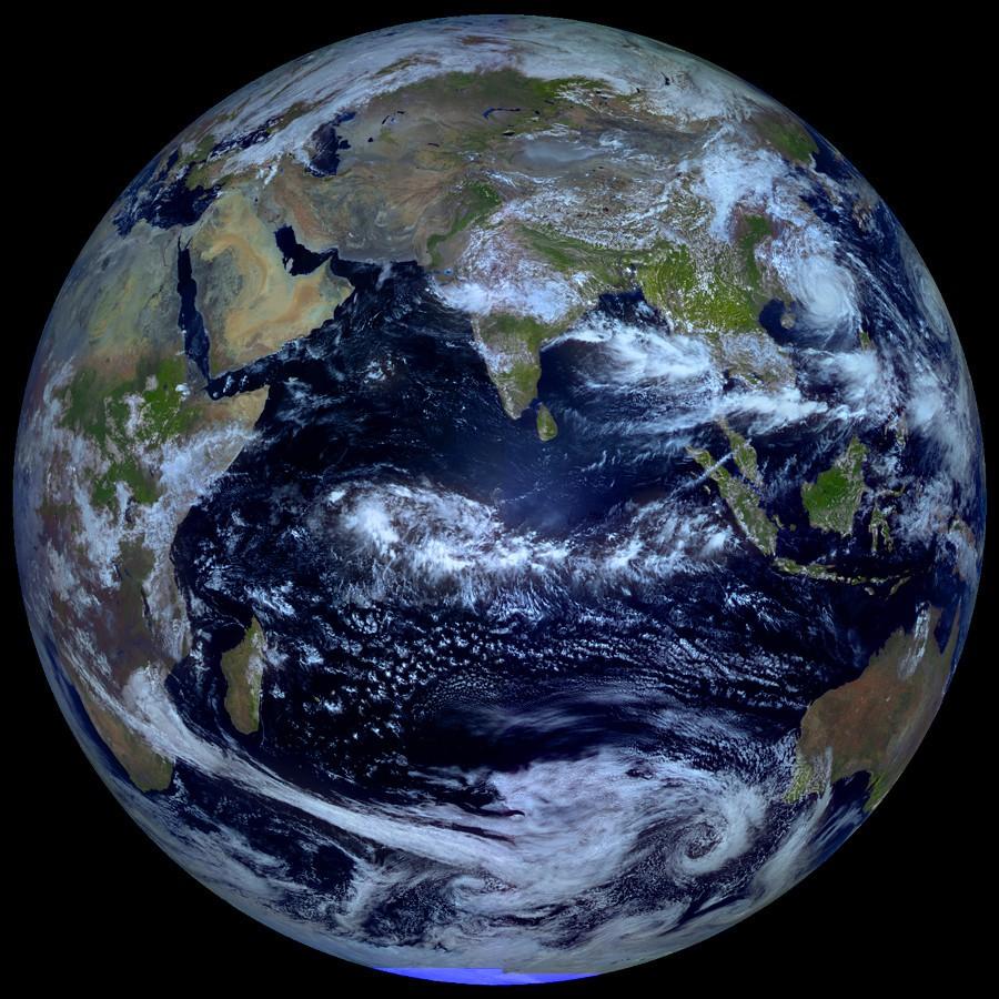Земля из космоса, геостационарная орбита.