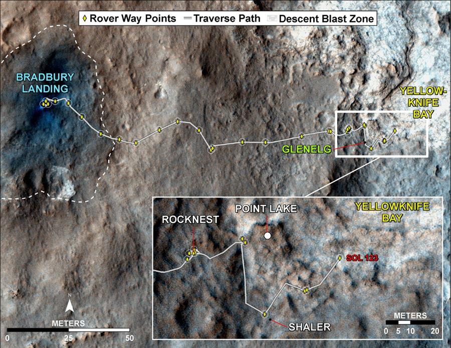 Маршрут марсохода Curiosity, начало пути