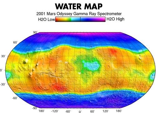 Карта воды на Марсе