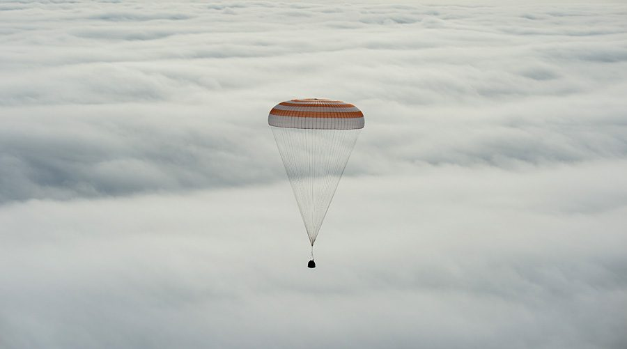 The Soyuz TMA-18M spacecraft is seen as it lands with Expedition 46 Commander Scott Kelly of NASA and Russian cosmonauts Mikhail Kornienko and Sergey Volkov of Roscosmos near the town of Zhezkazgan, Kazakhstan on Wednesday, March 2, 2016 (Kazakh time). Kelly and Kornienko completed an International Space Station record year-long mission to collect valuable data on the effect of long duration weightlessness on the human body that will be used to formulate a human mission to Mars. Volkov returned after spending six months on the station. Photo Credit: (NASA/Bill Ingalls)