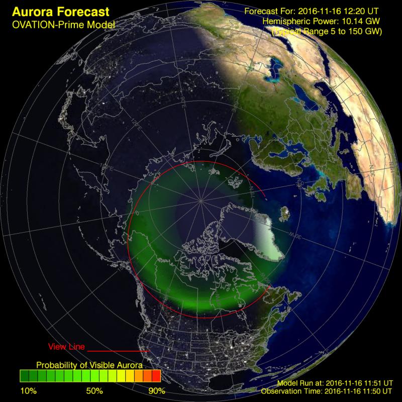 NOAA полярные сияния