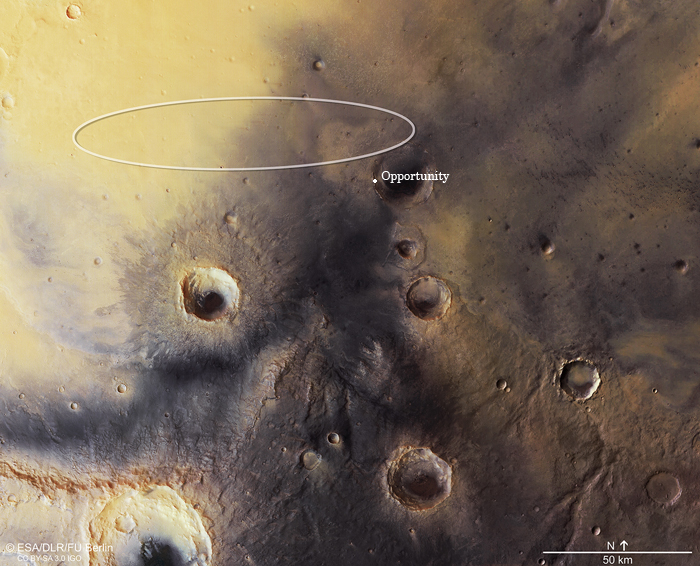 место посадки Schiaparelli и и марсоход Opportunity