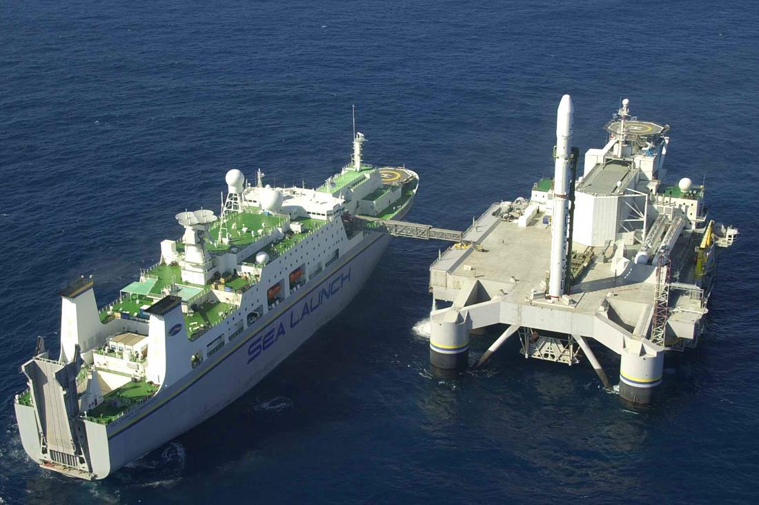 """подготовка к морскому запуску ракеты, проект """"Морской старт"""""""