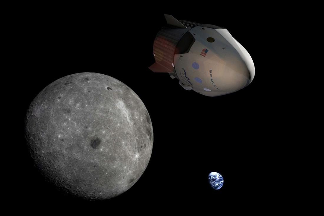 полет частного космического корабля Dragon к Луне