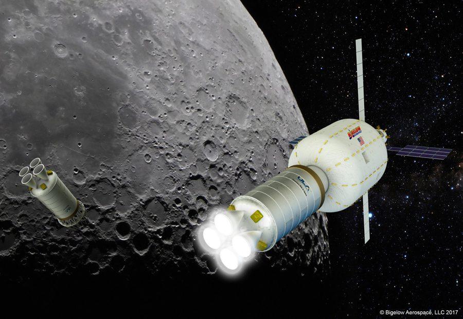 надувной модуль Bigelow Aerospace на орбите Луны