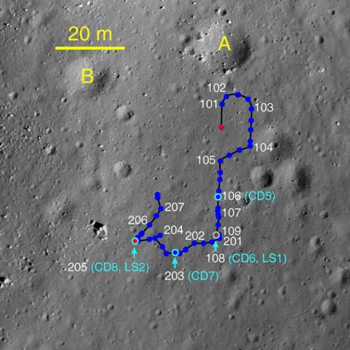 Путь китайского лунохода Yutu по Луне