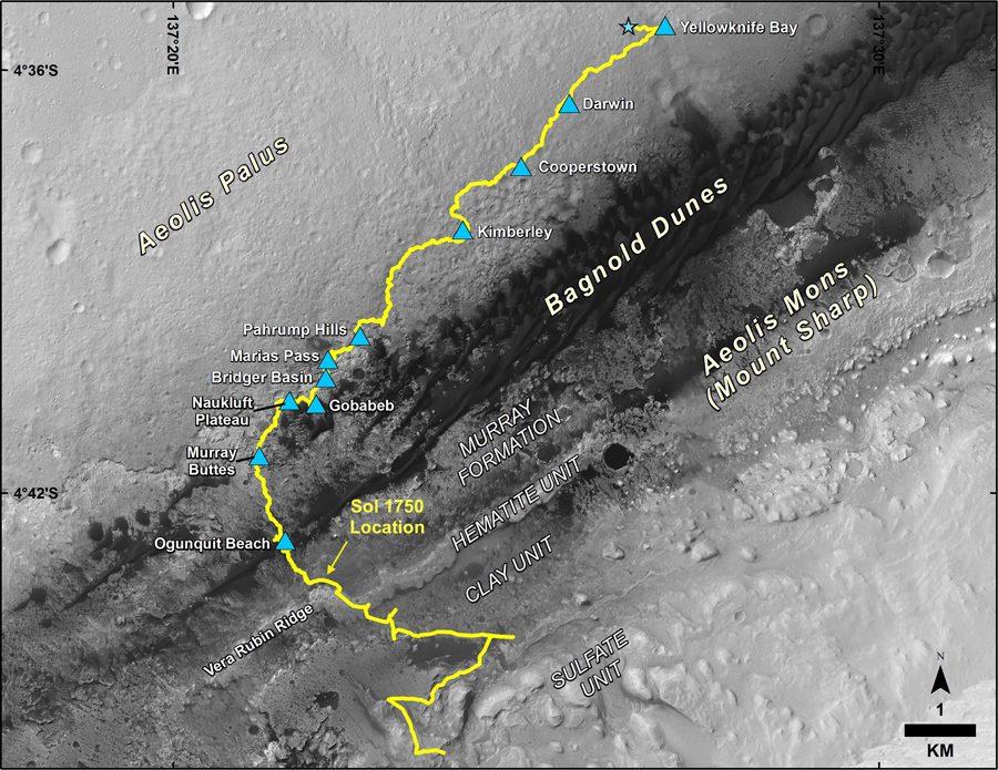карта пути миссии марсохода Curiosity