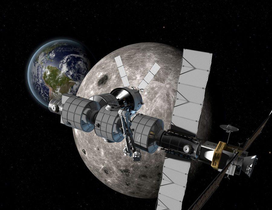 космическая станция Deep Space Gateway на окололунной орбите
