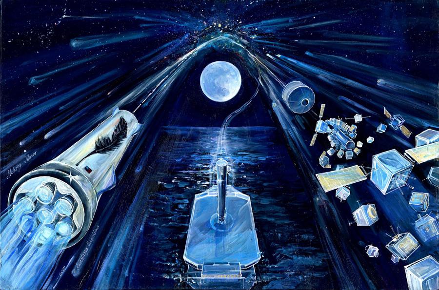 картина Анастасии Просочкиной «Blue Origin: New Glenn»