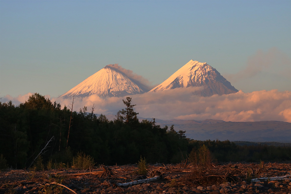 вулканы ключевской группы Ключевской и Камень