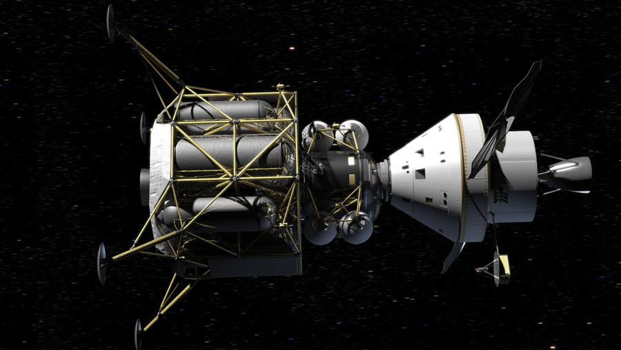 Orion с лунным посадочным модулем