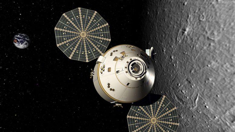 проект пилотируемого космического корабля Orion на лунной орбите