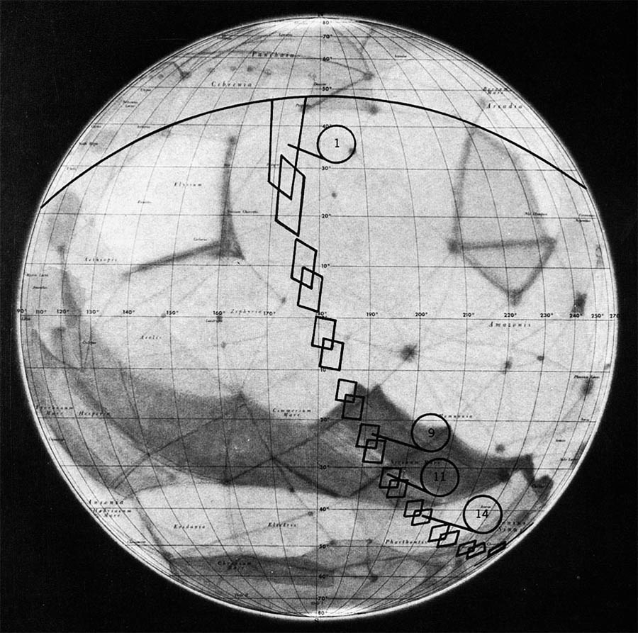границы снимков аппарата Mariner 4 на карте Марса