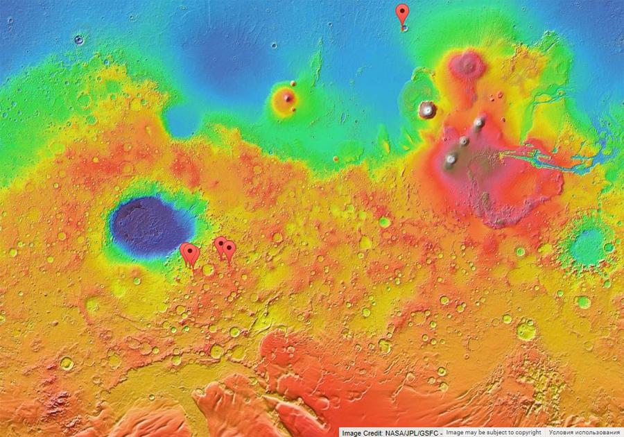 ледяные склоны на карте Марса