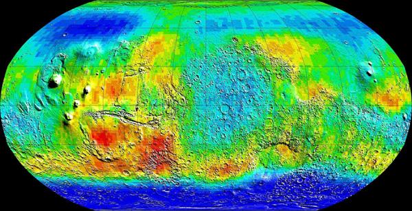 карта распределения воды на Марсе