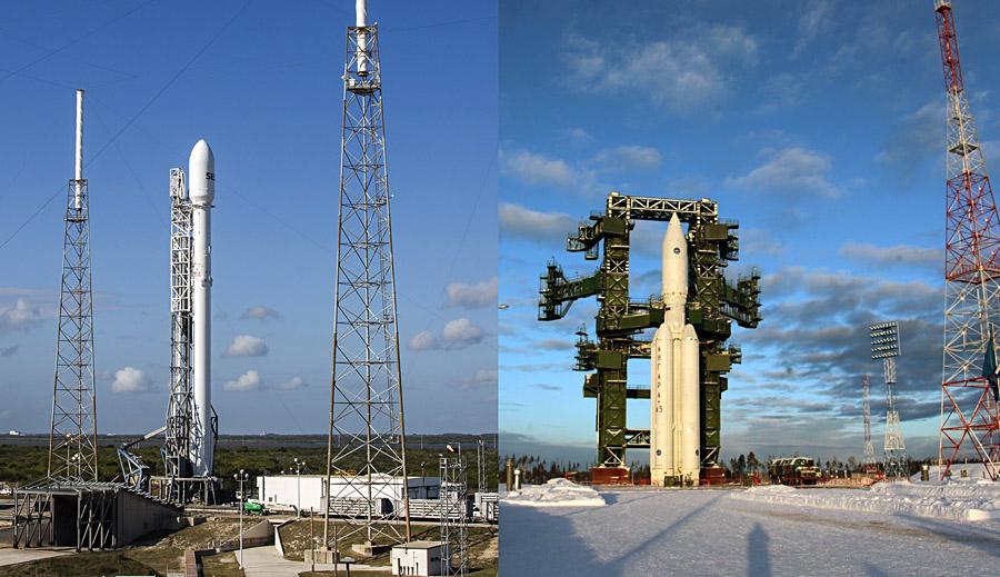 ракеты Ангара и Falcon-9 на стартовых площадках