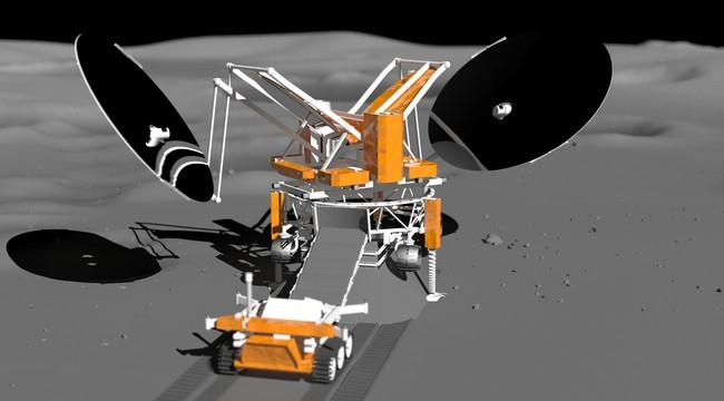 концепт лунного посадочного аппарата для спекания строительных блоков из реголита