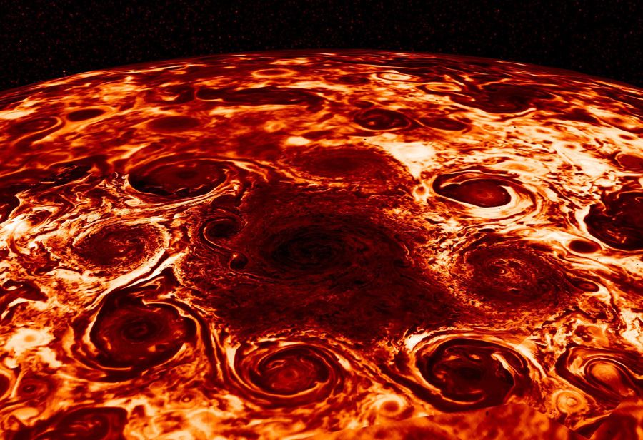 тайфун на Юпитере в инфракрасном диапазоне